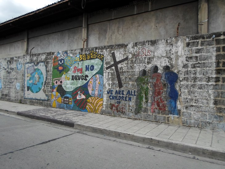 'Say NO to drugs' and featuring a Station of the Cross