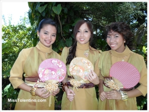 Our Japanese-inspired dresses (but looking more like flight attendants, lol). Here with the rest of the entourage: Sheena and Gem (MIA: Liezel) Taken at Le Jardin Rosella, Cherry Blossoms Garden, Tagaytay