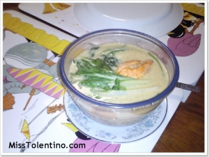Seafood in warm milk and vegetables