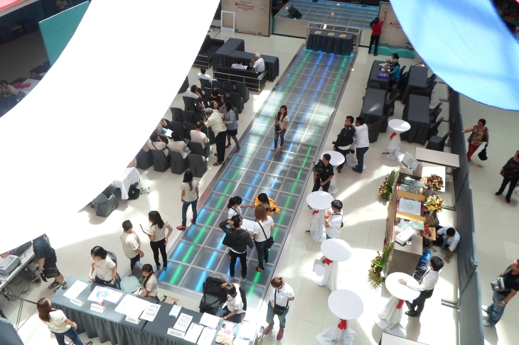A top view of the preparation for World Blood Donor Day