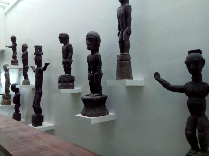 Bulol sculptures inside BenCab Museum.