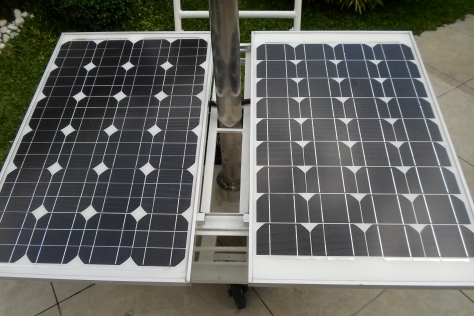 A sample of the solar panels used to light their impressive home.  These babies were currently being charged in their driveway when we took snapshots.
