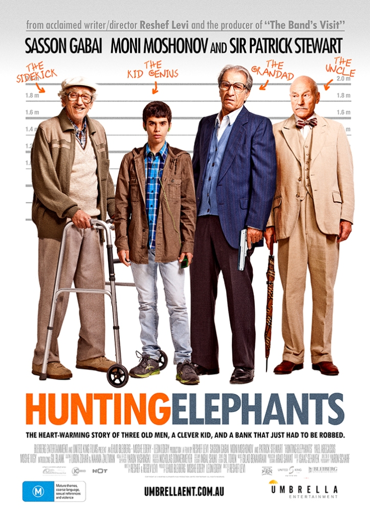 Hunting Elephants - Starring British actor Patrick Stewart, the 2013 film revolves around the adventures and misadventures behind a bank robbery for revenge.