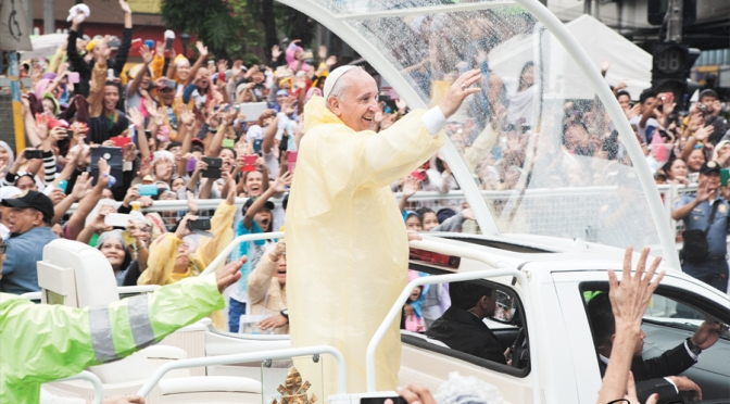 Pope Francis on Power Play cover, features Solaire's Sky Tower and Theatre