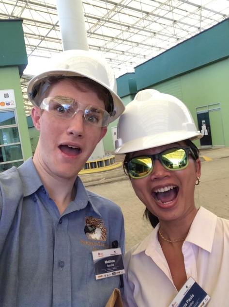 The author and her colleague getting their safety gear on.