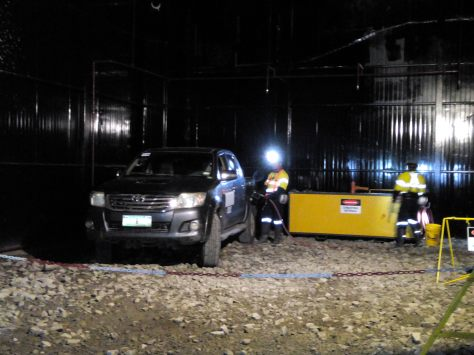 A refueling station can be found inside the mine. Here, a car is brought inside the underground mine to get juiced up.