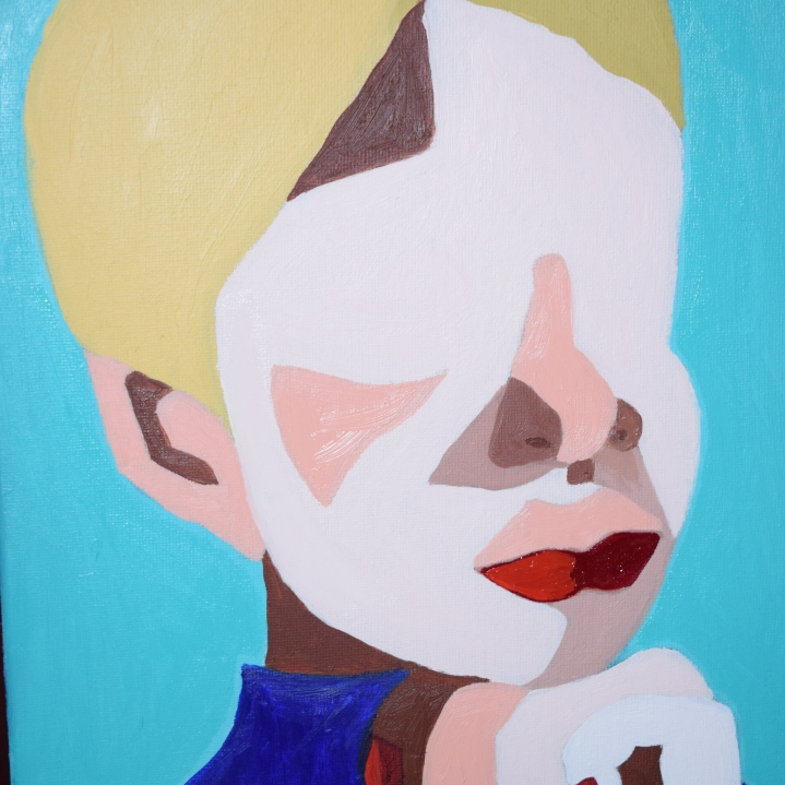 Blondie in Blue 10x14 Oil Painting